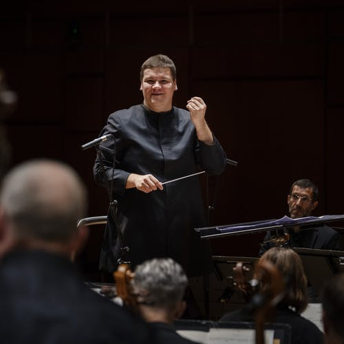 STAVANGER 27.08.2020: Andris Poga med Stavanger Symfoniorkester. Sesongåpning 20/21. Foto: Marie von Krogh